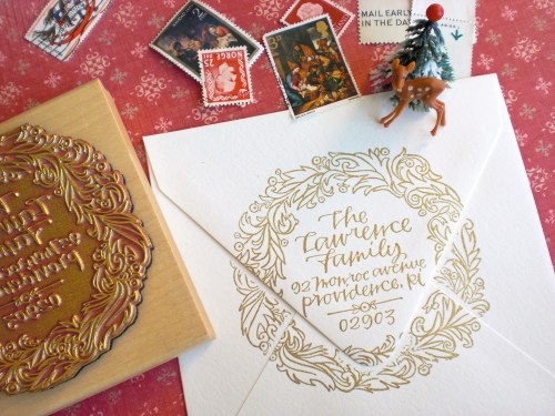 Primele Holiday Envelope Address Stamp 500x375 Holiday Calligraphy Stamp