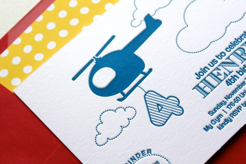 blue helicopter letterpress birthday party invitations 500x333 Helicopter Birthday Party Invitations