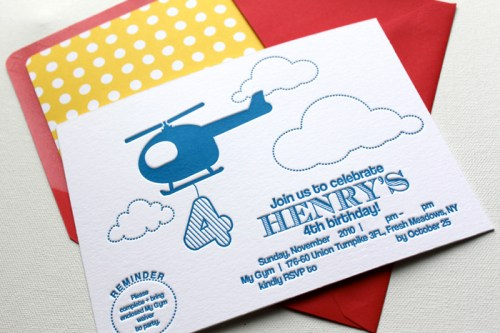 red yellow blue helicopter letterpress birthday party invitations1 500x333 Helicopter Birthday Party Invitations