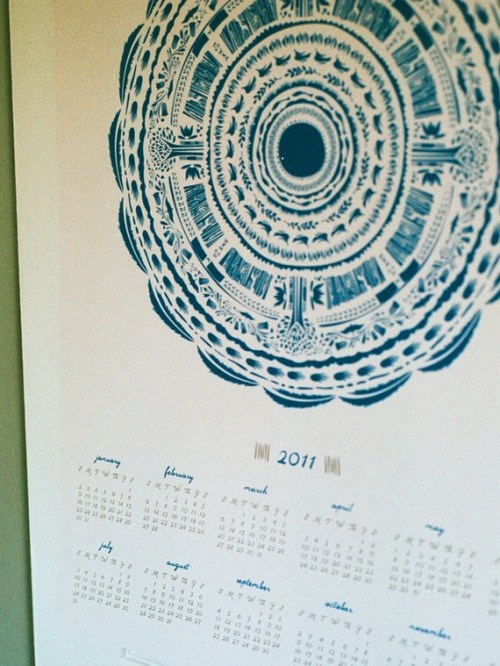 yellow lion 2011 screen printed calendar 500x666 2011 Calendar Round Up, Part 5