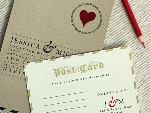 Love Letter Wedding Invitations Postcard RSVP 500x375 Love Letter Inspired Wedding Invitations