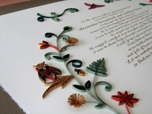 Nature Inspired Quilled Marriage Certificate 500x375 Nature Inspired Quilled Marriage Certificate