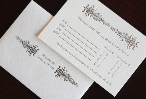Victorian Vineyard Letterpress Wedding Invitations Enclosures 500x340 Demi + Vincents Victorian Vineyard Wedding Invitations
