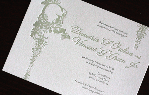 Victorian Vineyard Letterpress Wedding Invitations Main 500x320 Demi + Vincents Victorian Vineyard Wedding Invitations