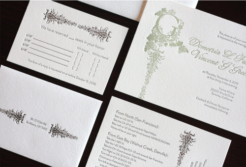 Victorian Vineyard Letterpress Wedding Invitations Suite 500x340 Demi + Vincents Victorian Vineyard Wedding Invitations