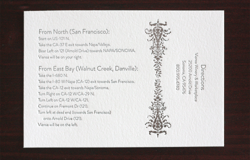 Victorian Vineyard Letterpress Wedding Invitations1 500x320 Demi + Vincents Victorian Vineyard Wedding Invitations