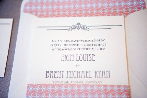 Vintage Glam Zoo Wedding Invitations 500x333 Erin + Brents Vintage Glam Chicago Wedding Invitations