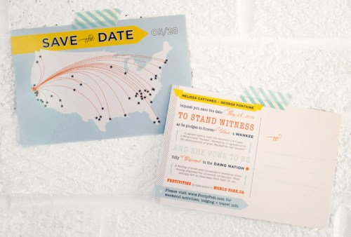 modern map save the date postcard front back 500x338 Melissa + Georges Save the Date Postcards