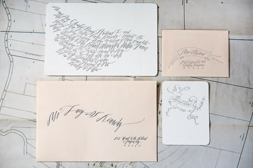 Betsy Dunlap Calligraphy Letterpress Wedding Invitations 500x333 Best of 2010 Wedding Invitations: Calligraphy + Blind Impression Maps