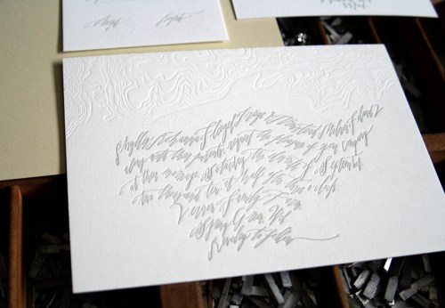 Modern Calligraphy Topography Letterpress Wedding Invitation 500x346 Best of 2010 Wedding Invitations: Calligraphy + Blind Impression Maps