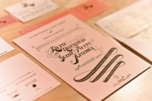 Pink Gold Letterpress Wedding Invitation Best of 2010 Wedding Invitations: Metallics + Foils