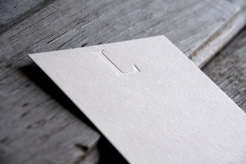 Studio 827 blind impression letterpress initial note cards 500x333 Monogram Note Cards
