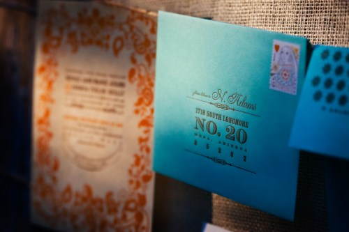 Virginia Balsa Wood Orange Blue Wedding Invitations Suite 500x333 Nikki + Joshs Balsa Wood Wedding Invitations