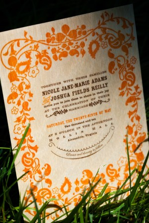Virginia Balsa Wood Orange Blue Wedding Invitations 300x450 Nikki + Joshs Balsa Wood Wedding Invitations