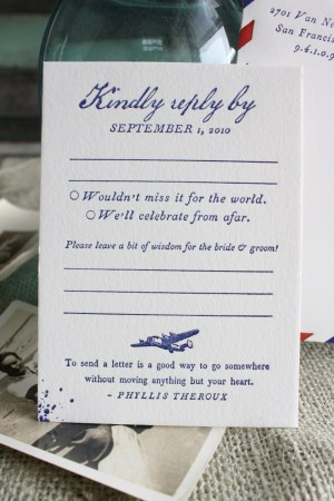 vintage travel airmail wedding invitation reply card 300x450 Best of 2010 Wedding Invitations: Vintage Love Letters