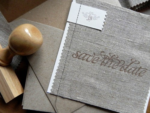 Linen Fabric Stitched Save the Dates 500x375 Shabby Chic Linen Save the Dates