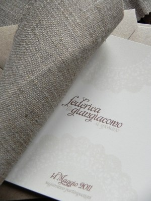 Linen Fabric Stitched Save the Dates7 300x399 Shabby Chic Linen Save the Dates