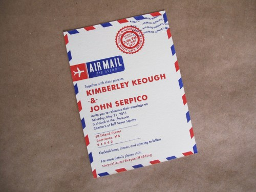 airmail travel inspired wedding invitation 500x375 Kim + Johns Letterpress Airmail Wedding Invitations