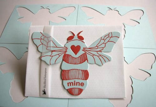 Blackbird Letterpress Bee Mine Valentine 500x342 Seasonal Stationery: Last Minute Valentines Day Cards