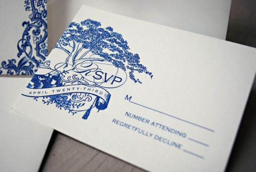 Blue Letterpress Puerto Rico Wedding Invitations RSVP 500x335 Lorna + Joses Puerto Rico Destination Wedding Invitations