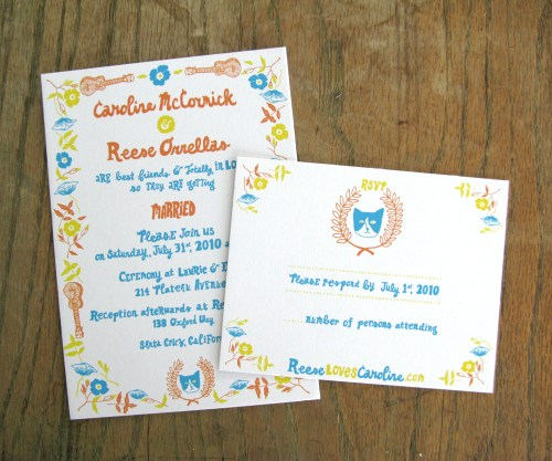 Blue Orange Yellow Hand Illustrated Wedding Invitations 500x417 Caroline + Reeses Screen Printed Wedding Invitations