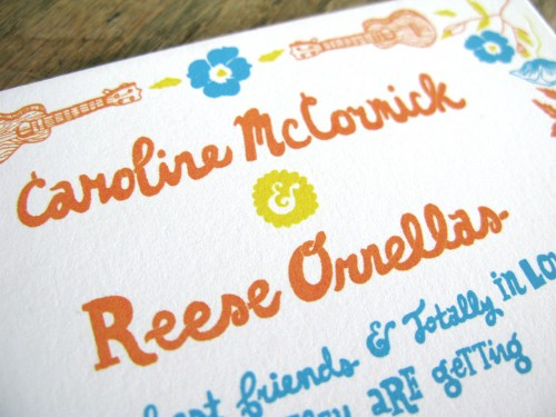 Blue Orange Yellow Hand Illustrated Wedding Invitations3 500x375 Caroline + Reeses Screen Printed Wedding Invitations