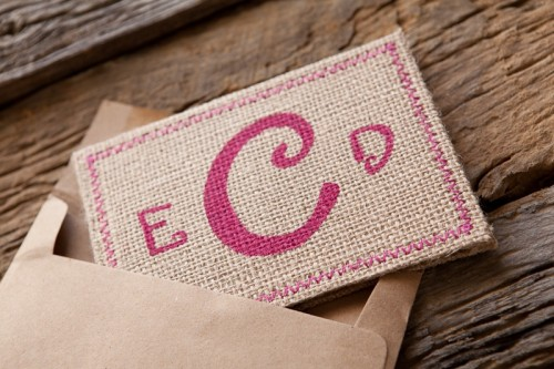 Burlap Pink Monogram Wedding Invitation Envelope 500x333 Erin + Davids Rustic Pink + Burlap Wedding Invitations