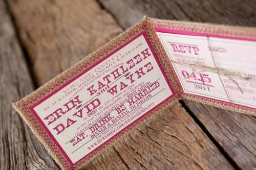 Burlap Pink Monogram Wedding Invitation Inside 500x333 Erin + Davids Rustic Pink + Burlap Wedding Invitations