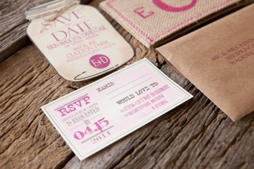 Burlap Pink Monogram Wedding Invitation RSVP 500x333 Erin + Davids Rustic Pink + Burlap Wedding Invitations