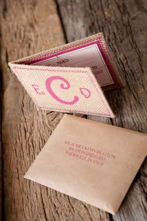 Burlap Pink Monogram Wedding Invitations 300x450 Erin + Davids Rustic Pink + Burlap Wedding Invitations
