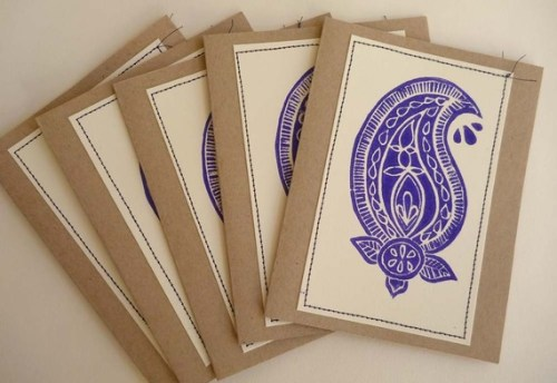 Hand printed linoleum cut note cards 500x344 Hand Block Printed Note Cards