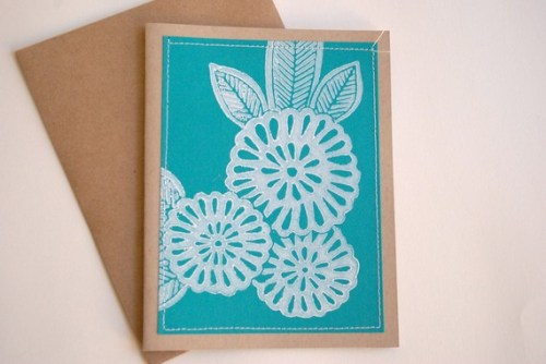 Hand printed linoleum cut stitched note cards 500x334 Hand Block Printed Note Cards