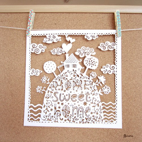 Home Sweet Home Paper Cut Dinara Mirtalipova 500x500 Home Sweet Home Papercut Artwork