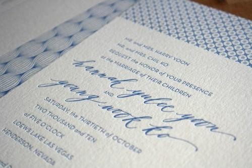 Modern Blue Pattern Letterpress Wedding Invitation Calligraphy 500x333 Hannah + Youngs Modern Destination Wedding Invitations