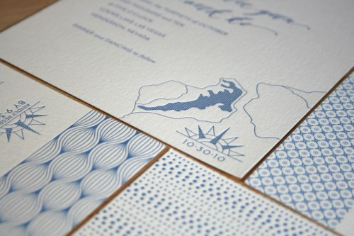 Modern Blue Pattern Letterpress Wedding Invitation5 500x333 Hannah + Youngs Modern Destination Wedding Invitations