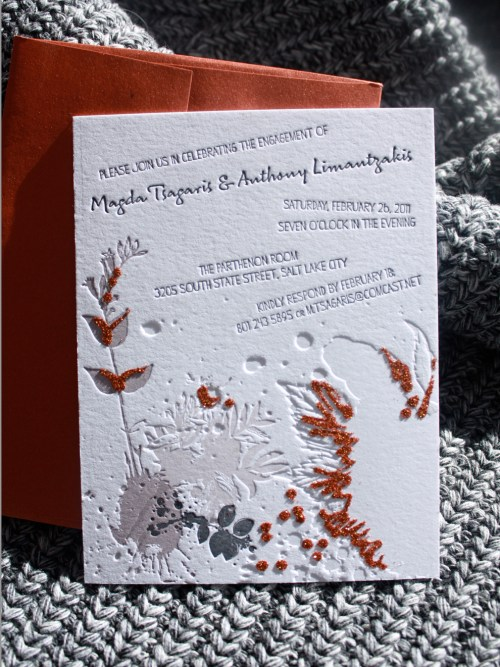 Print Cursive Modern Red Gray Letterpress Wedding Invitation1 500x667 Modern Copper + Gray Engagement Party Invitations