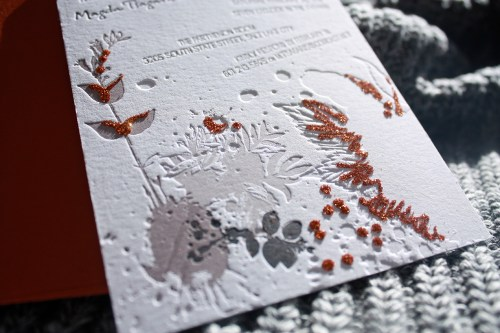 Print Cursive Modern Red Gray Letterpress Wedding Invitation2 500x333 Modern Copper + Gray Engagement Party Invitations
