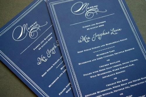 Swirly Romantic Calligraphy Blue White Wedding Menu 500x333 Whimsical Calligraphy from Barbara Kua
