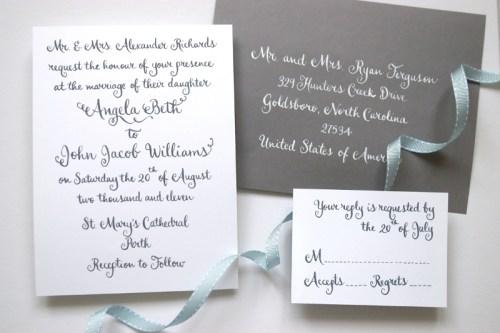 Swirly Romantic Calligraphy Gray White Wedding Invitations 500x333 Whimsical Calligraphy from Barbara Kua