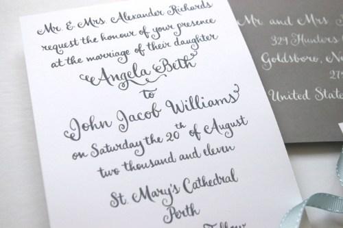 Swirly Romantic Calligraphy Gray White Wedding Invitations2 500x333 Whimsical Calligraphy from Barbara Kua