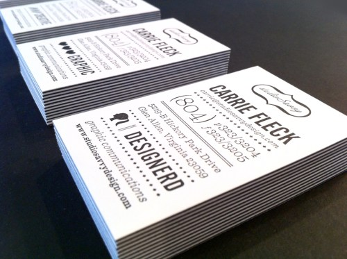 Black White Letterpress Business Cards3 500x373 Business Card Ideas and Inspiration #6