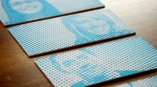 Letterpress Halftone Blue Business Cards 500x278 Business Card Ideas and Inspiration #5