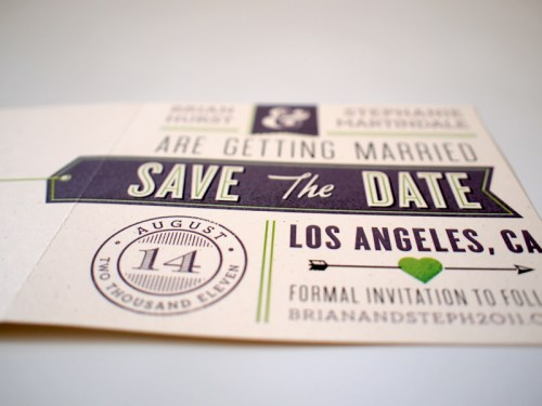Vintage Aviation Save the Date Postcard2 500x375 Brian + Stephanies Modern Aviation Save the Dates