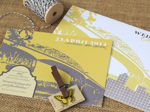 Yellow Gray New Zealand Wedding Invitation Suite Bridge Skyline 500x375 Ruby + Alistairs New Zealand Waterfront Wedding Invitations