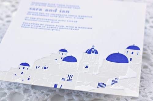 blue white greek islands wedding invitations 500x330 Sara + Ian's Greek Isles Wedding Invitations