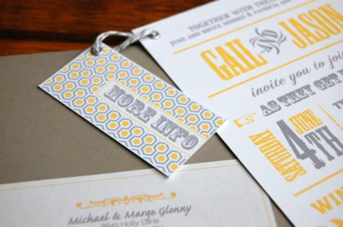 info card front 500x332 Gail + Jason's Modern Yellow + Gray Wedding Invitations