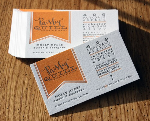 letterpress calligraphy business card paisley quill 500x404 Business Card Ideas and Inspiration #5