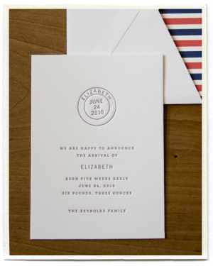 letterpress postal theme striped birth announcements 300x375 Adorable Birth Announcement Ideas