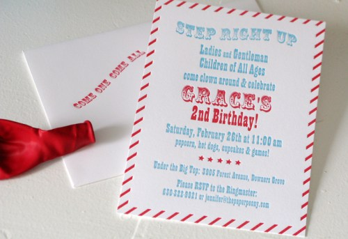 red white blue 2nd birthday party invitation 500x343 Red + Aqua Carnival Birthday Party Invitations for Grace!