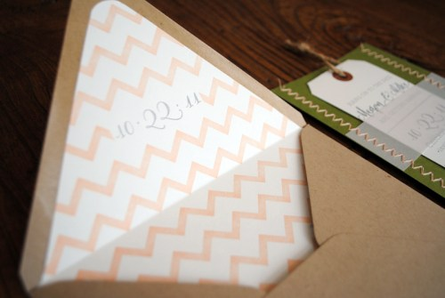 Chevron Stripe Stitched Wedding Save the Dates Envelope Liner 500x335 Megan + Mikes Chevron Stripe and Stitched Save the Dates